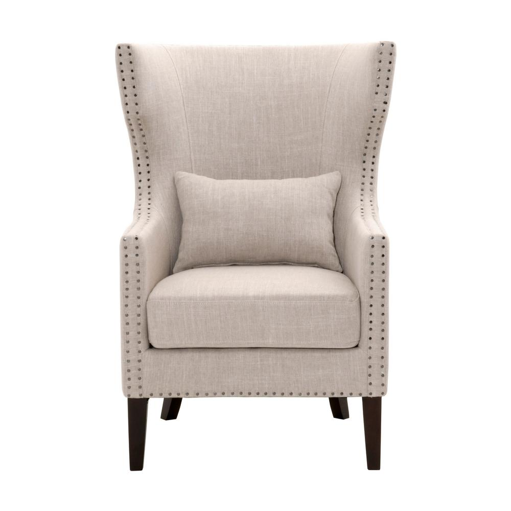 Arm Chairs Home Decorators Collection Bentley Birch Neutral Upholstered Arm Chair