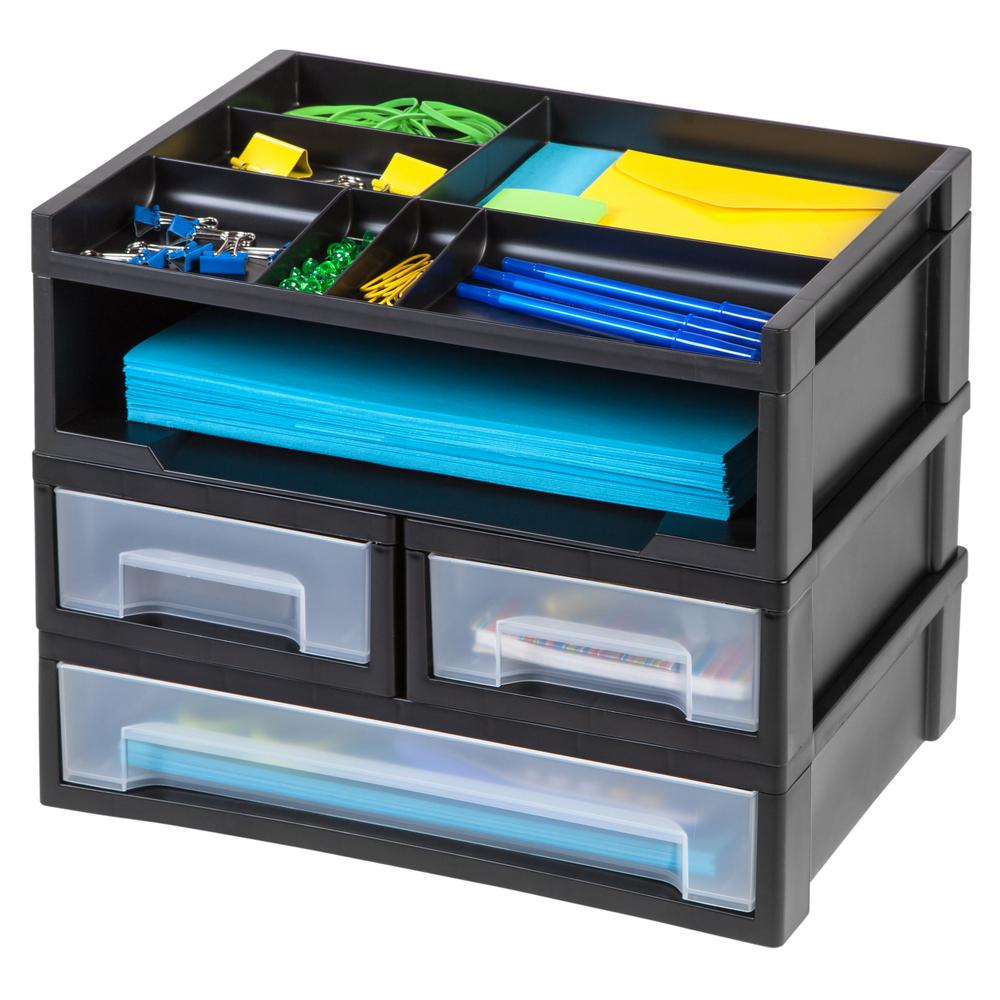 Desk Top Drawers Iris 5 Piece Desk Top Organizer In Black