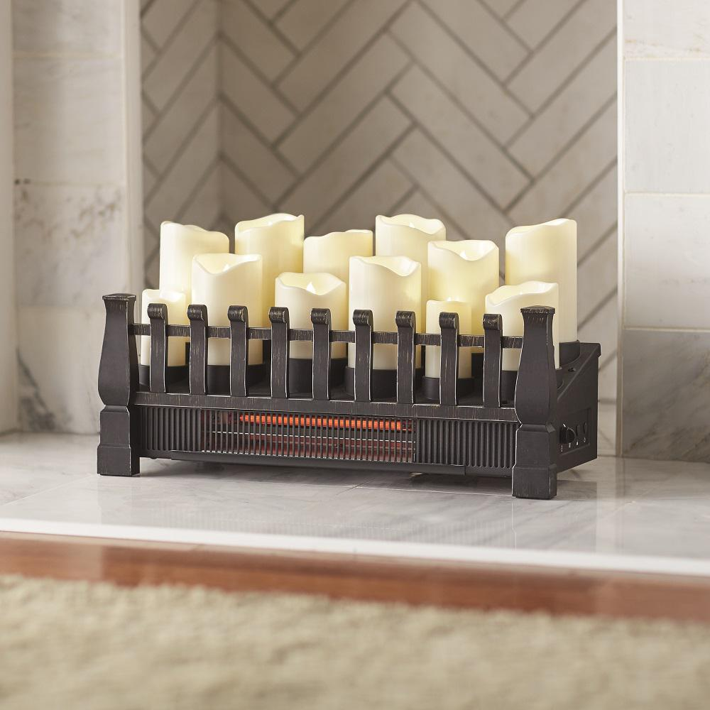 Gas Inserts For Fireplaces Home Decorators Collection Brindle Flame 20 In Candle Electric Fireplace Insert With Infrared Heater In Black