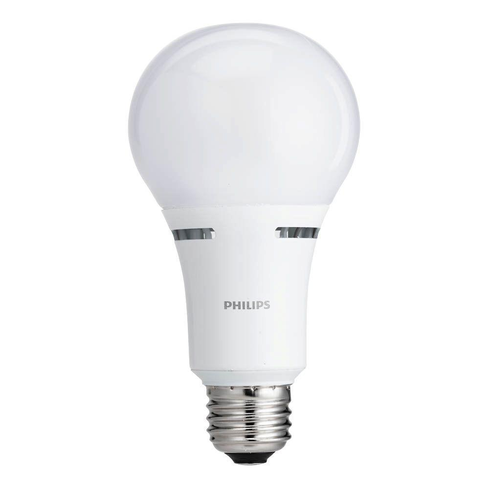Philips 40 Watt 60 Watt 100 Watt Equivalent A21 Energy Saving 3 Way Led Light Bulb Soft White 2700k 459156 The Home Depot