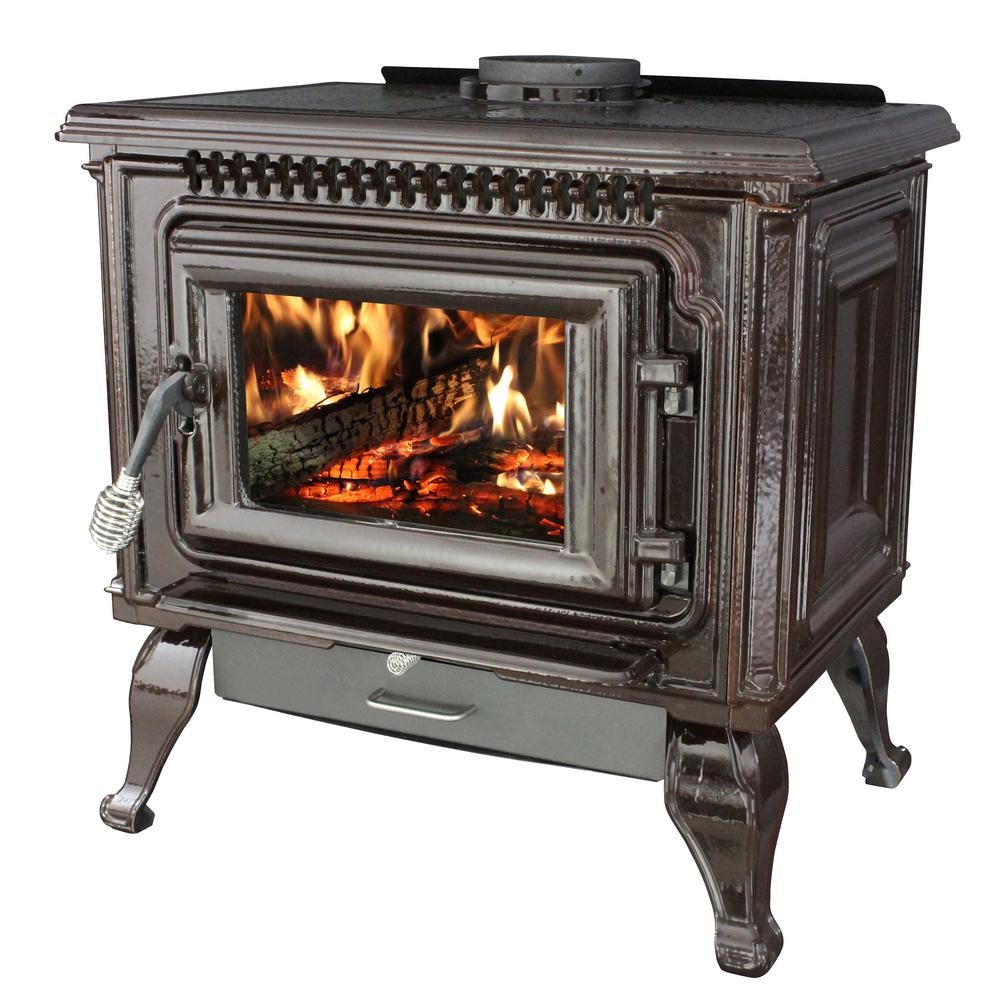 Wood Burning Fireplace Heater Blower 2 000 Sq Ft Epa Certified Mahogany Enameled Porcelain Cast Iron Wood Stove With Blower