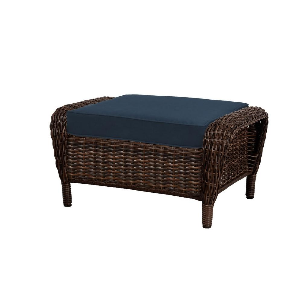 Wicker Ottoman Hampton Bay Cambridge Brown Wicker Outdoor Ottoman With Blue Cushions