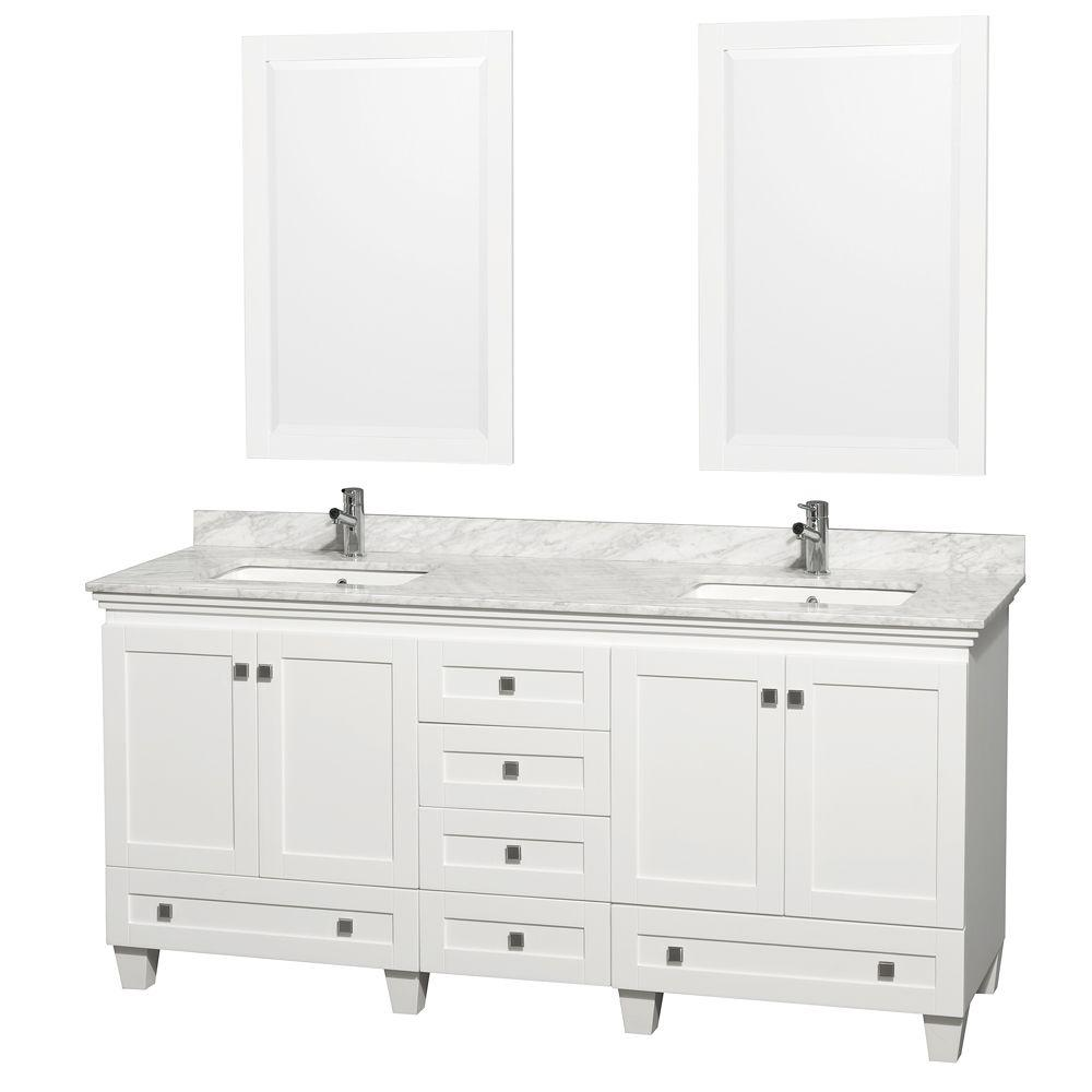 Bathroom Vanity 72 Double Sink Wyndham Collection Acclaim 72 In Double Vanity In White With Marble Vanity Top In Carrara White Square Sink And 2 Mirrors