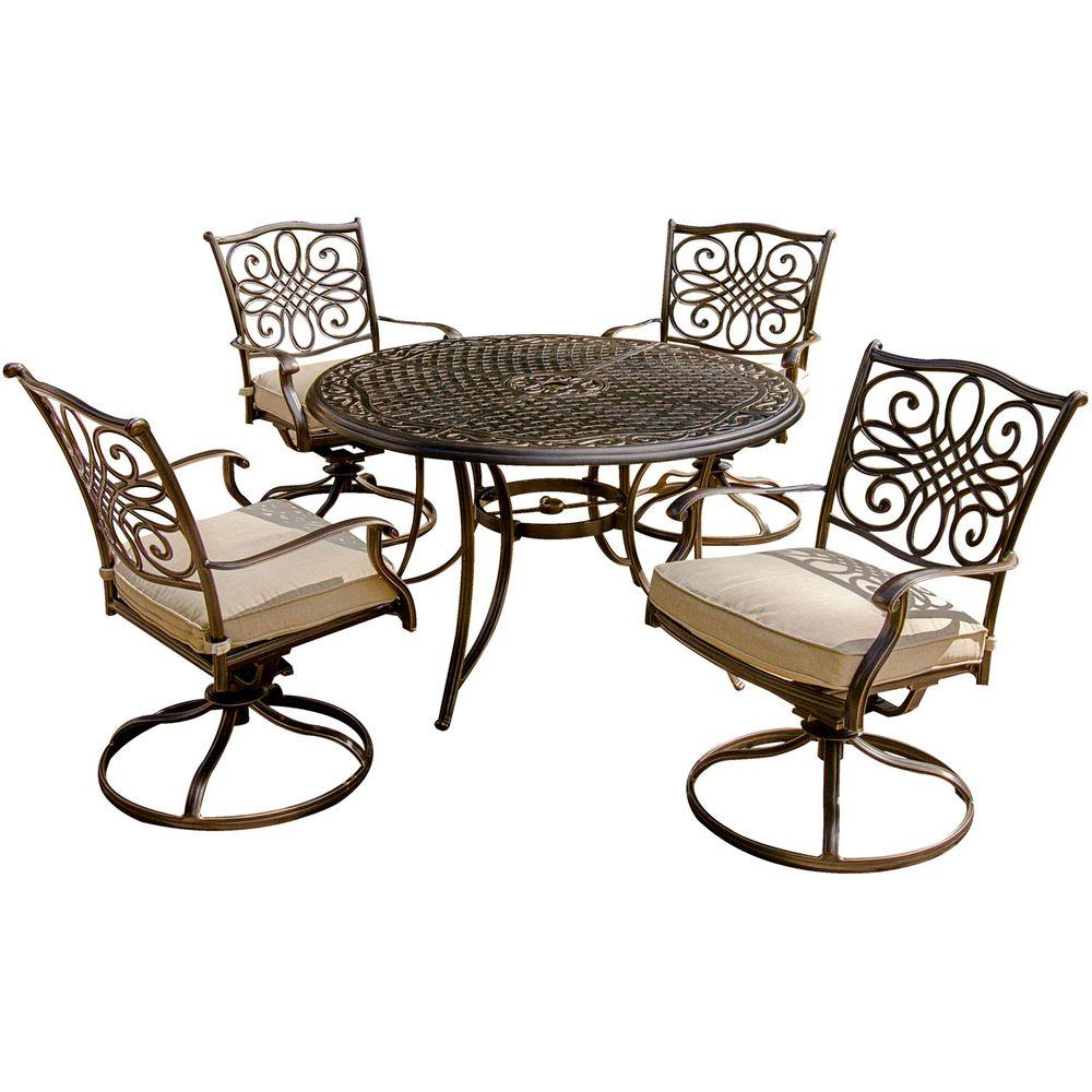 Round Table Patio Furniture Sets Hanover Traditions 5 Piece Patio Outdoor Dining Set With 4 Cushioned Swivel Chairs And 48 In Round Table