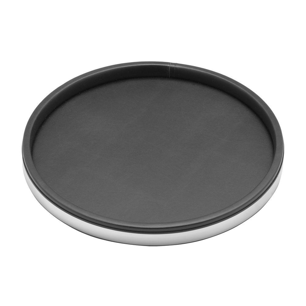 Black Serving Tray Sophisticates 14 In Serving Tray In Black W Brushed Chrome