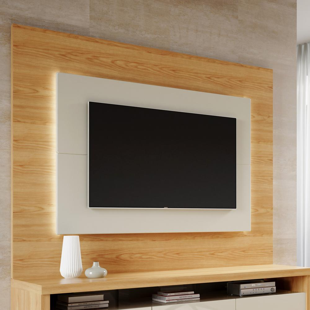 Wood Wall Behind Tv Sylvan 85 43 In Nature Wood And Off White Tv Panel