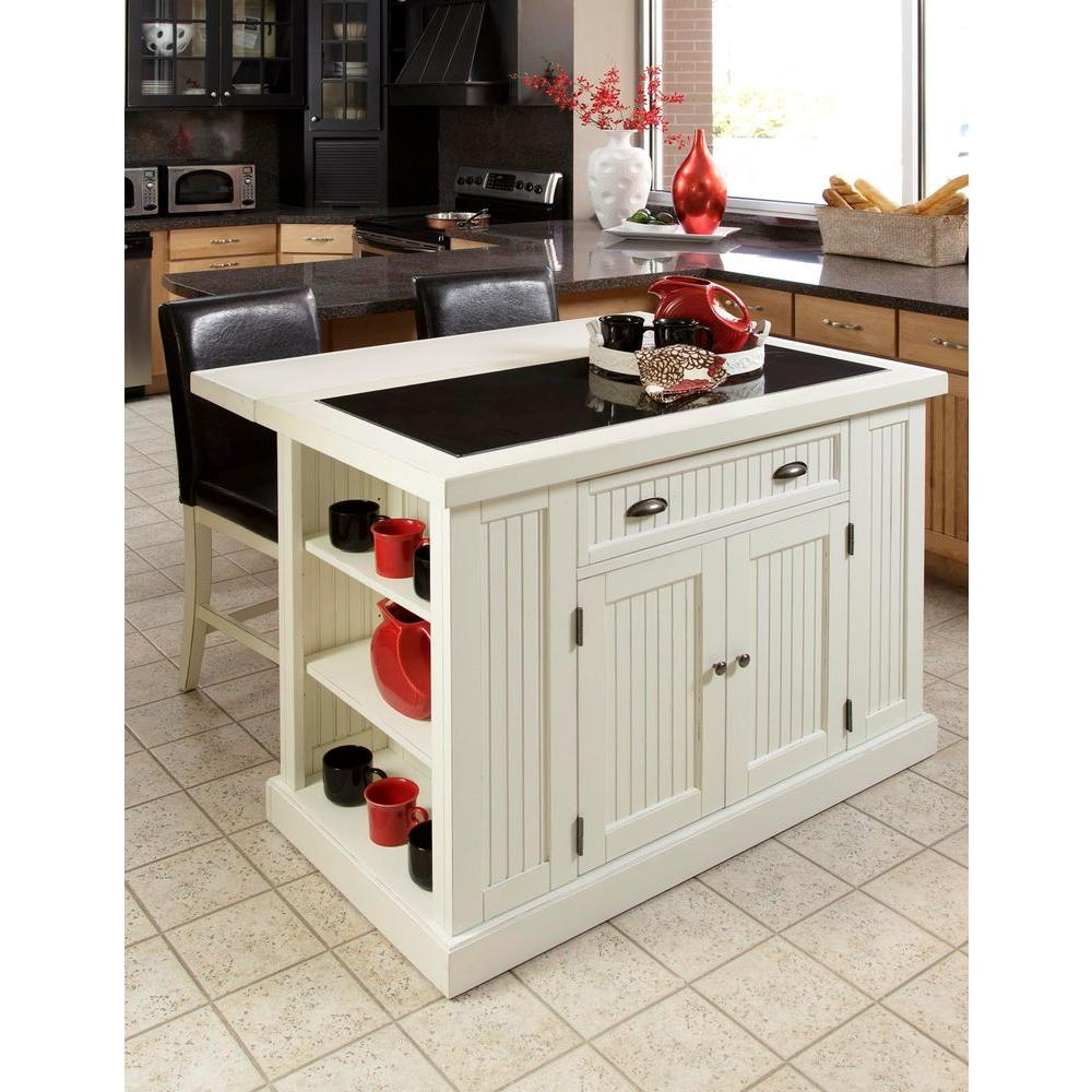 Portable Kitchen Island Bench Home Styles Nantucket White Kitchen Island With Granite Top 5022