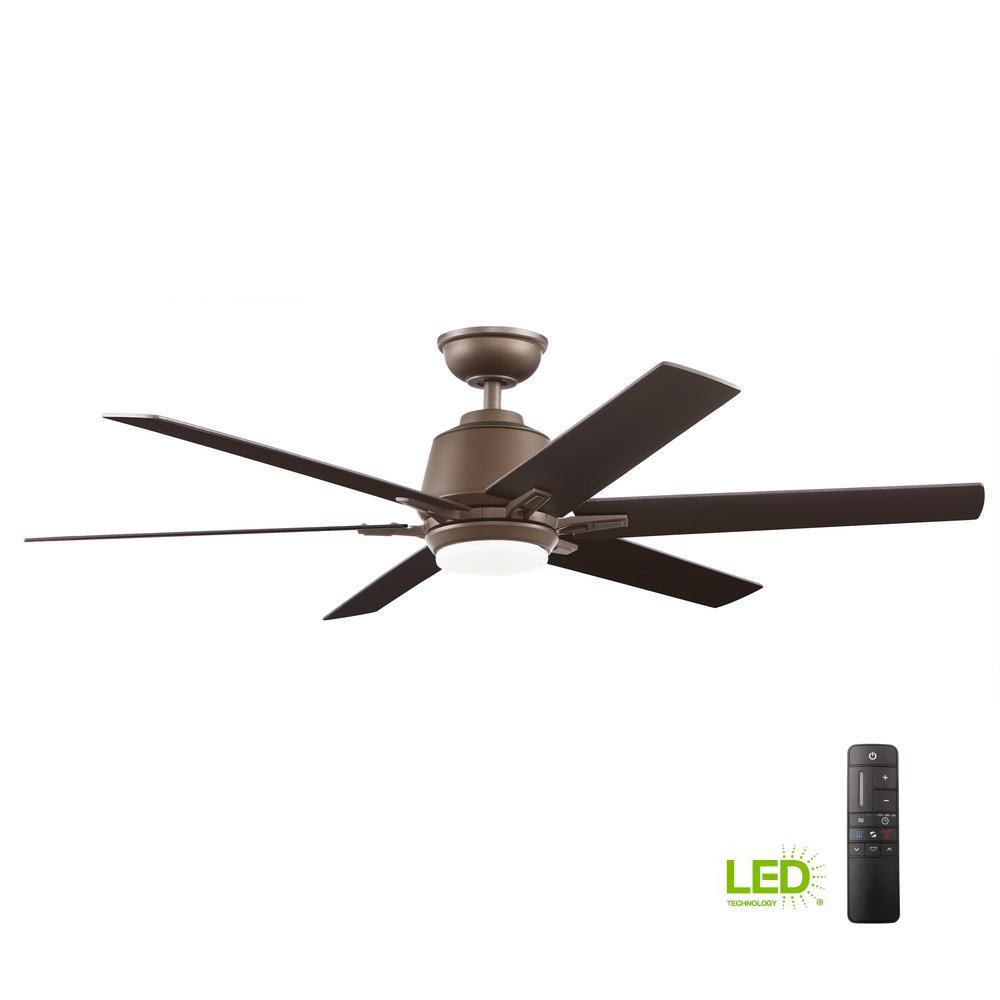 Ceiling Fan Size For Garage Home Decorators Collection Kensgrove 54 In Integrated Led Indoor Espresso Bronze Ceiling Fan With Light Kit And Remote Control