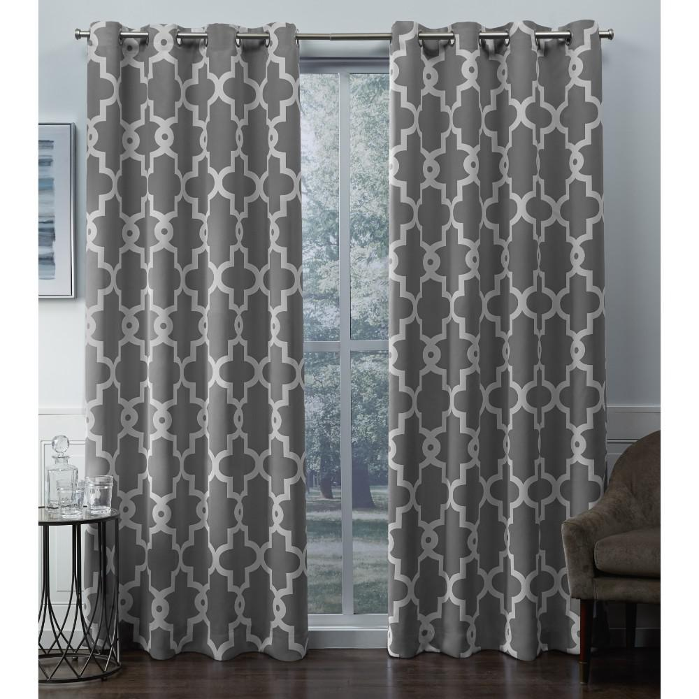 Teal Silver Curtains Exclusive Home Curtains Ironwork 52 In W X 96 In L Woven Blackout Grommet Top Curtain Panel In Silver 2 Panels