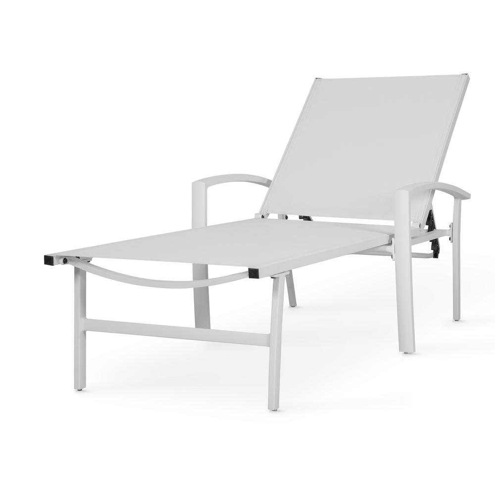 Chaise Cocktail Nuu Garden White 1 Piece Aluminum Outdoor Chaise Lounge