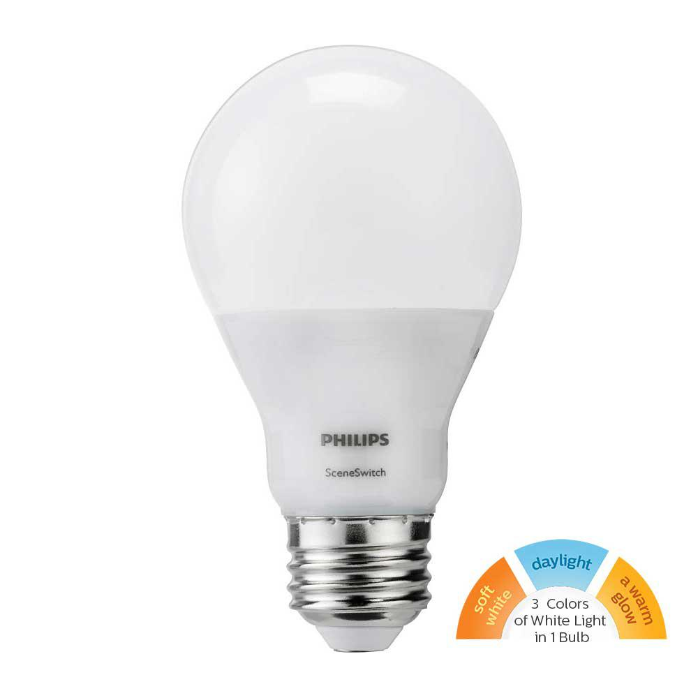 60w Light Bulb Philips 60 Watt Equivalent A19 Sceneswitch Led Light Bulb Daylight 5000k Soft White 2700k Warm Glow 2200k
