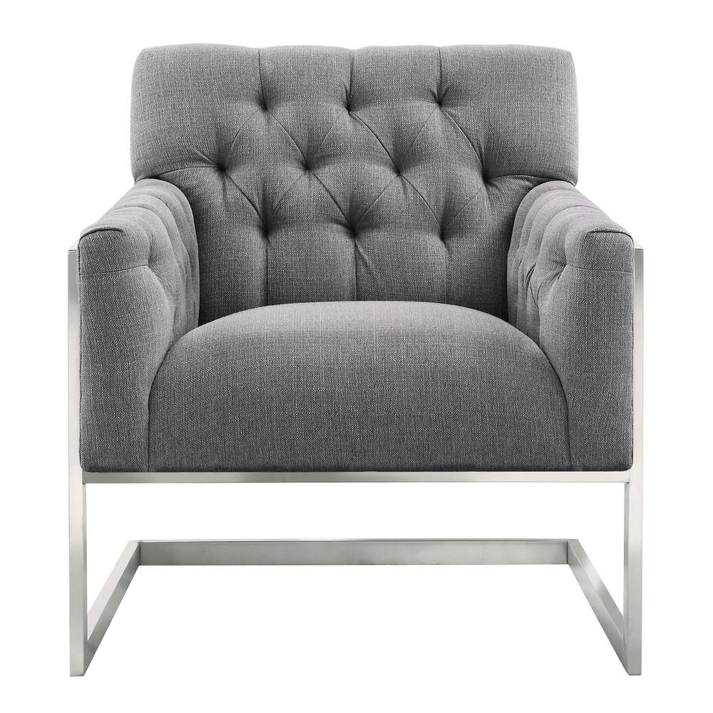 Beautiful Accent Chairs Armen Living Emily Grey Fabric Contemporary Accent Chair In Brushed Stainless Steel