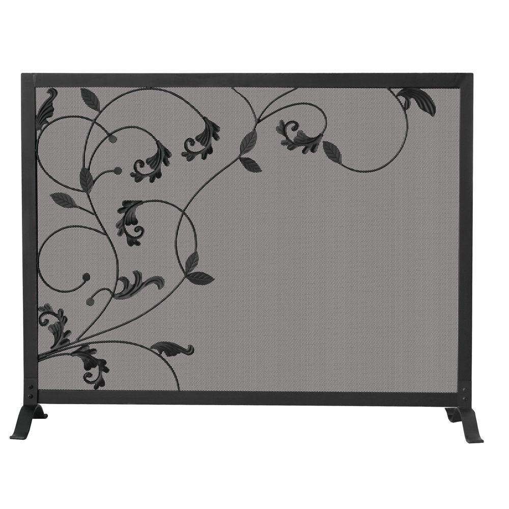 Fireplace Screen Home Depot Uniflame Black Wrought Iron Single Panel Fireplace Screen With Flowing Leaf Design