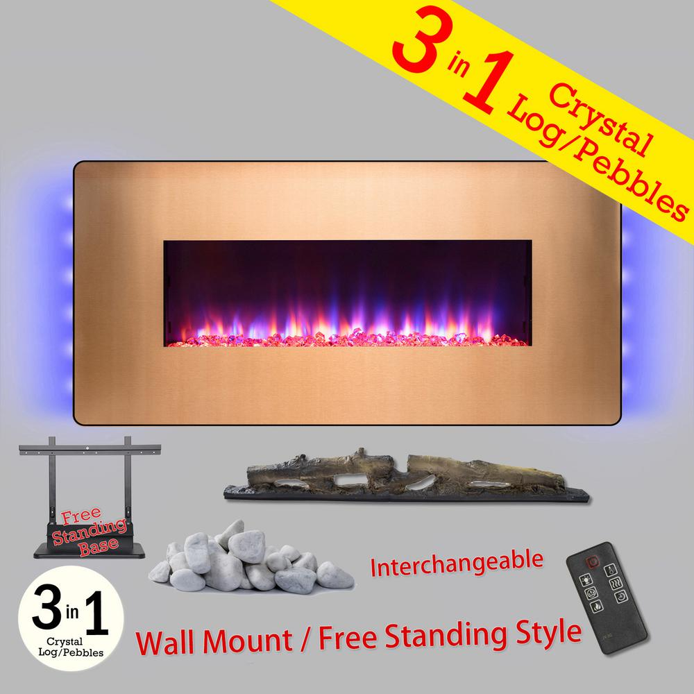 Wall Mount Fireplace Heaters Akdy 48 In Wall Mount Freestanding Convertible Electric Fireplace Heater In Gold W Pebbles Logs Crystal Remote Control