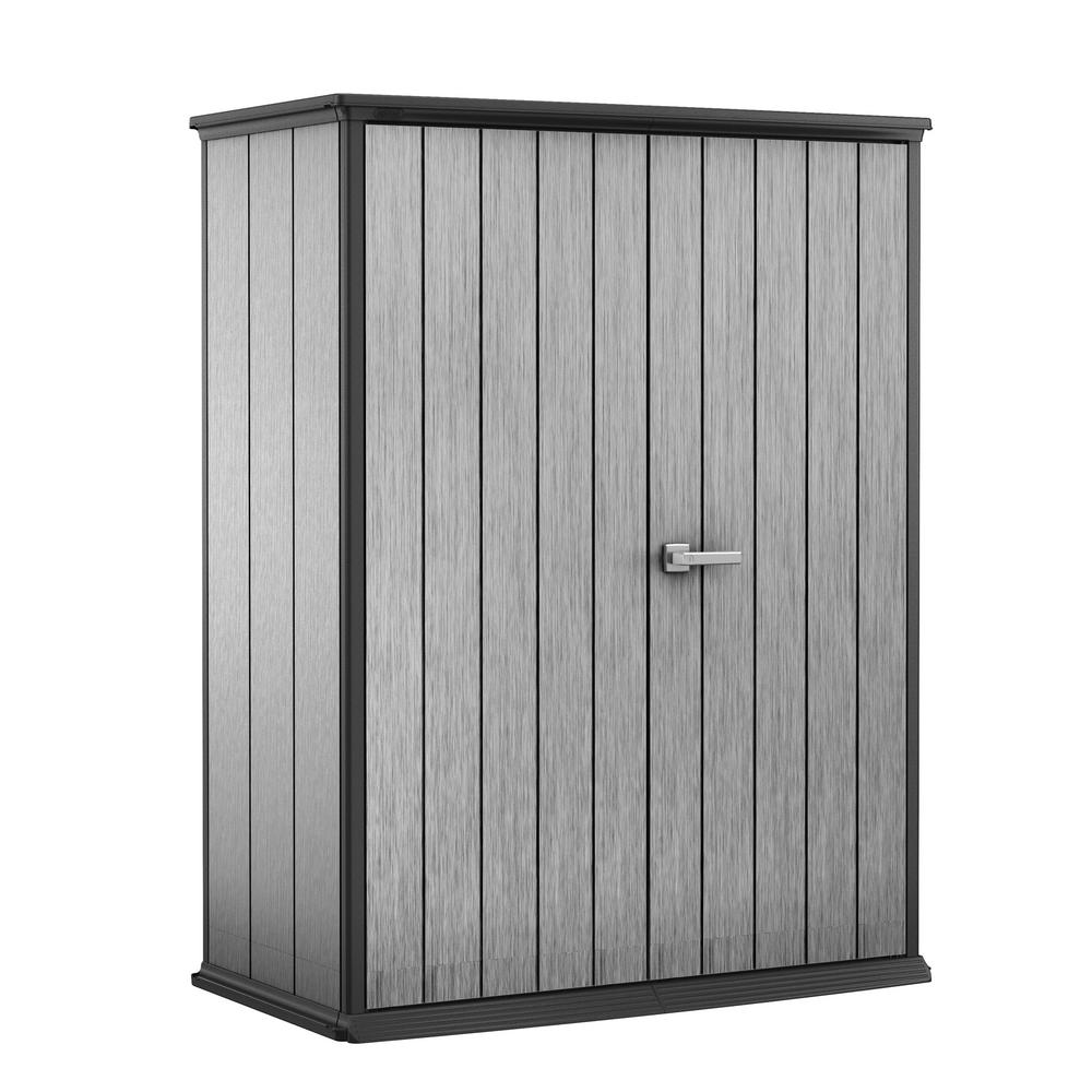 Keter High Store Keter High Store 4 6 Ft X 2 5 Ft X 5 10 Ft Resin Vertical Storage Shed