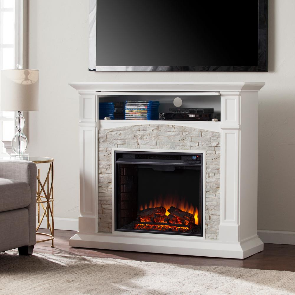 Fireplace Tv Stand Home Depot Southern Enterprises Conway 45 75 In Electric Fireplace Tv Stand In White With White Faux Stone