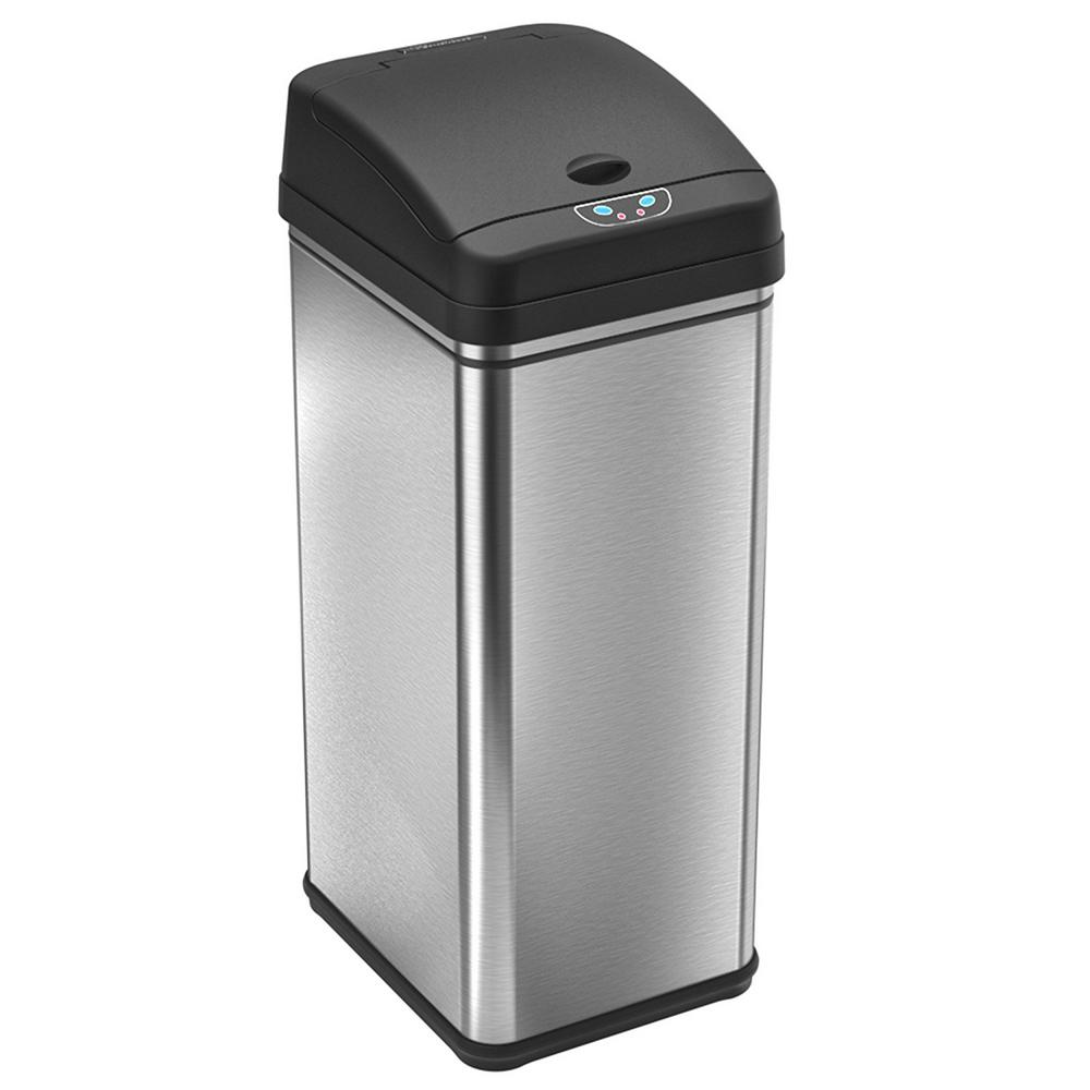 Garbage Bins Walmart Itouchless 13 Gal Stainless Steel Motion Sensing Touchless Trash Can With Deodorizing Carbon Filter Technology