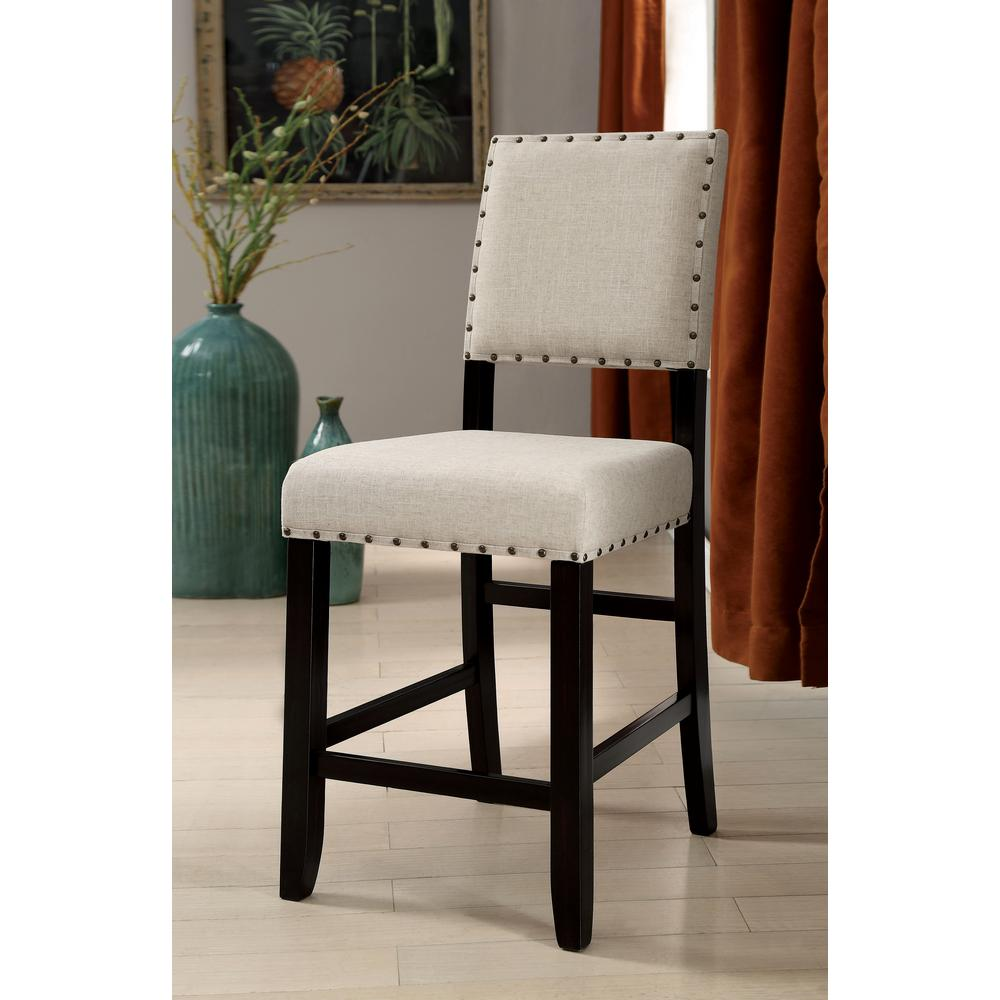 Fabric Counter Height Bar Stools Ullen 25 In Antique Black Upholstered Counter Height Chair Set Of 2