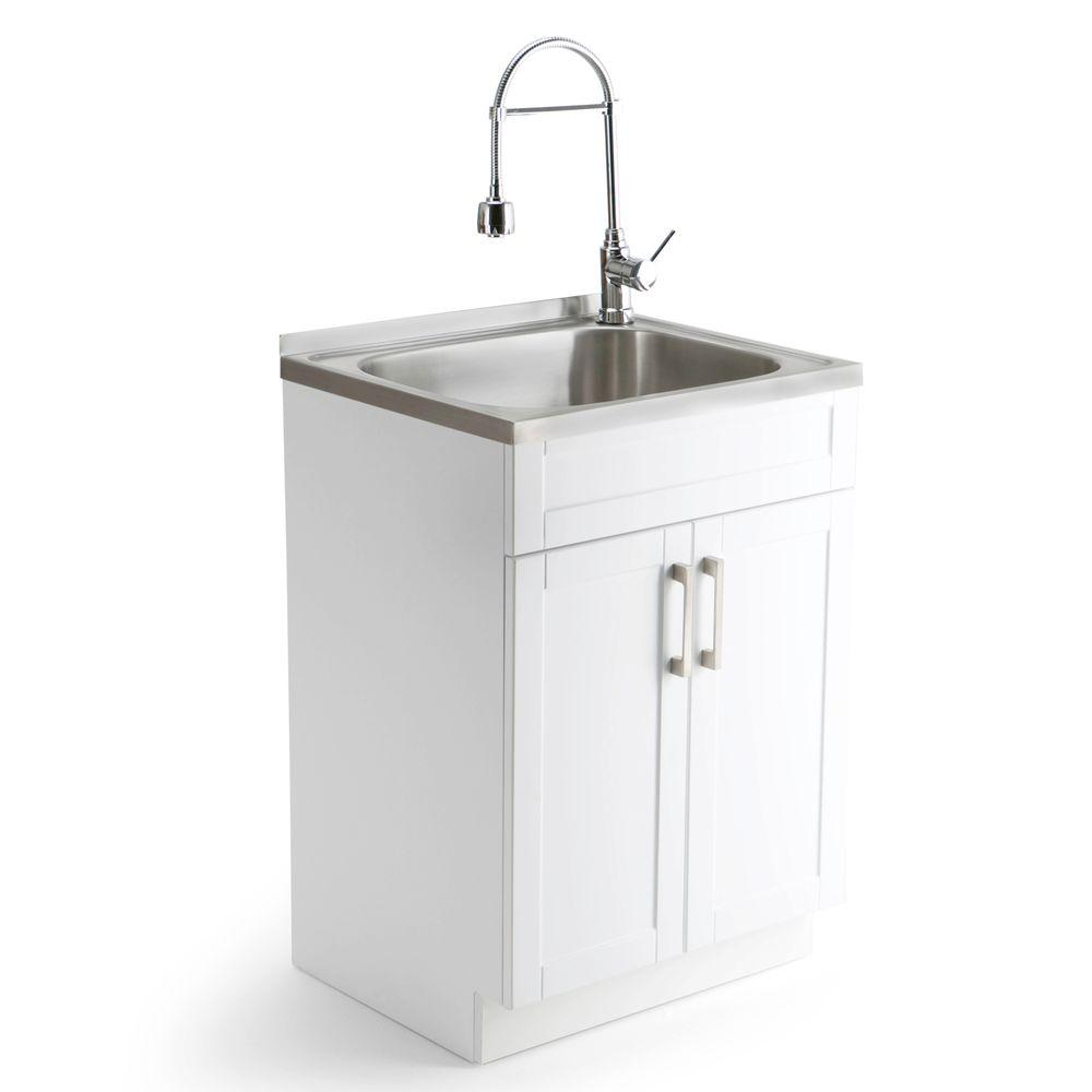 Garage Utility Sink Hennessy 24 In W X 19 7 In D X 35 7 In H Laundry Cabinet W Faucet And Stainless Steel Undermount Laundry Utility Sink