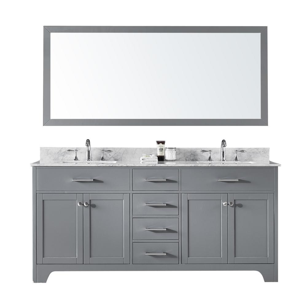 Bathroom Vanity 72 Double Sink Exclusive Heritage 72 In Double Sink Bathroom Vanity In Taupe Grey With Carrara White Marble Top And Mirror Set