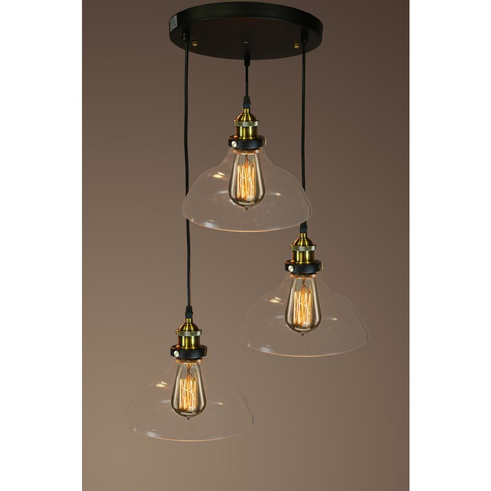 Hanging Lamp Edison Esmeralda Collection 3 Light Black Clear Glass Indoor Hanging Lamp