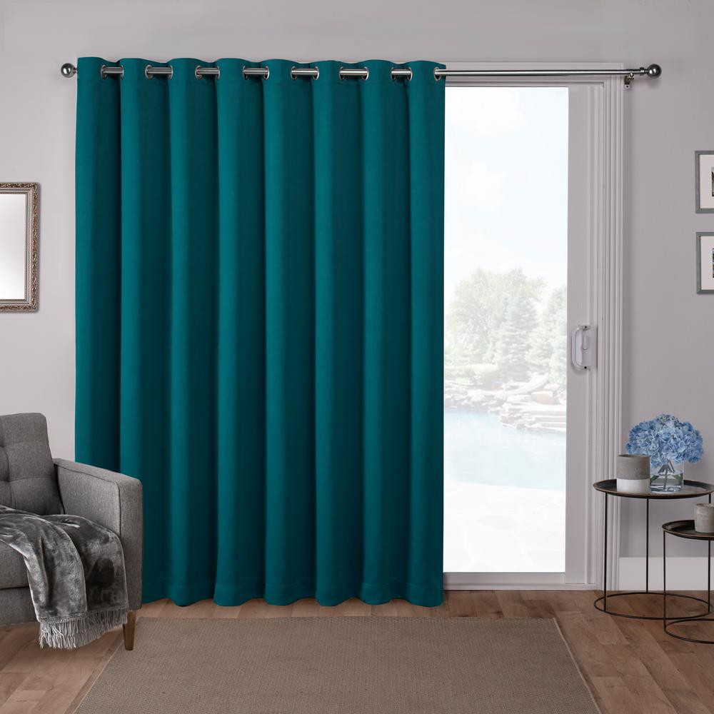 Teal Blackout Curtains Sateen Patio 100 In W X 84 In L Woven Blackout Grommet Top Curtain Panel In Teal 1 Panel