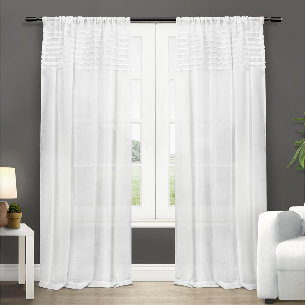 Panel Curtain Rods Barcelona 50 In W X 84 In L Sheer Rod Pocket Top Curtain Panel In Winter White 2 Panels