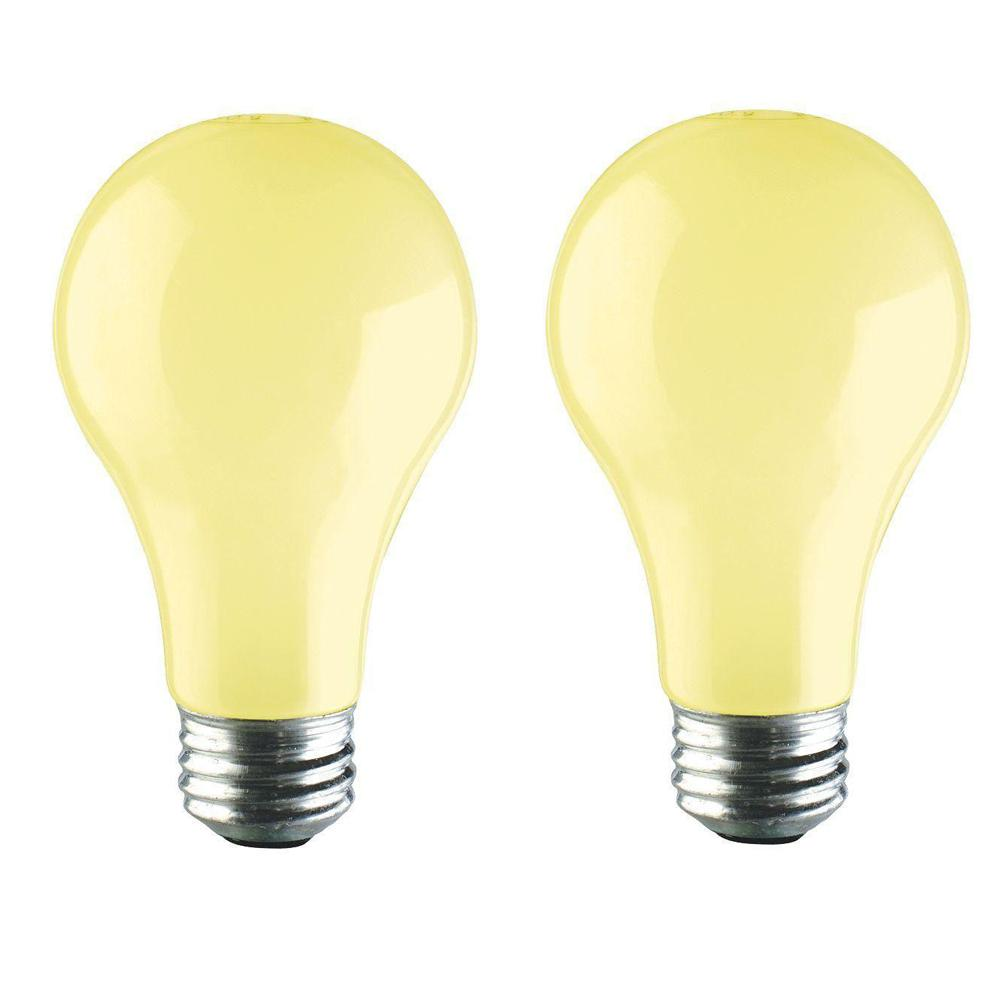 60w Light Bulb Philips 60 Watt A19 Long Life Dimmable Yellow Incandescent Bug Light Bulb 2 Pack