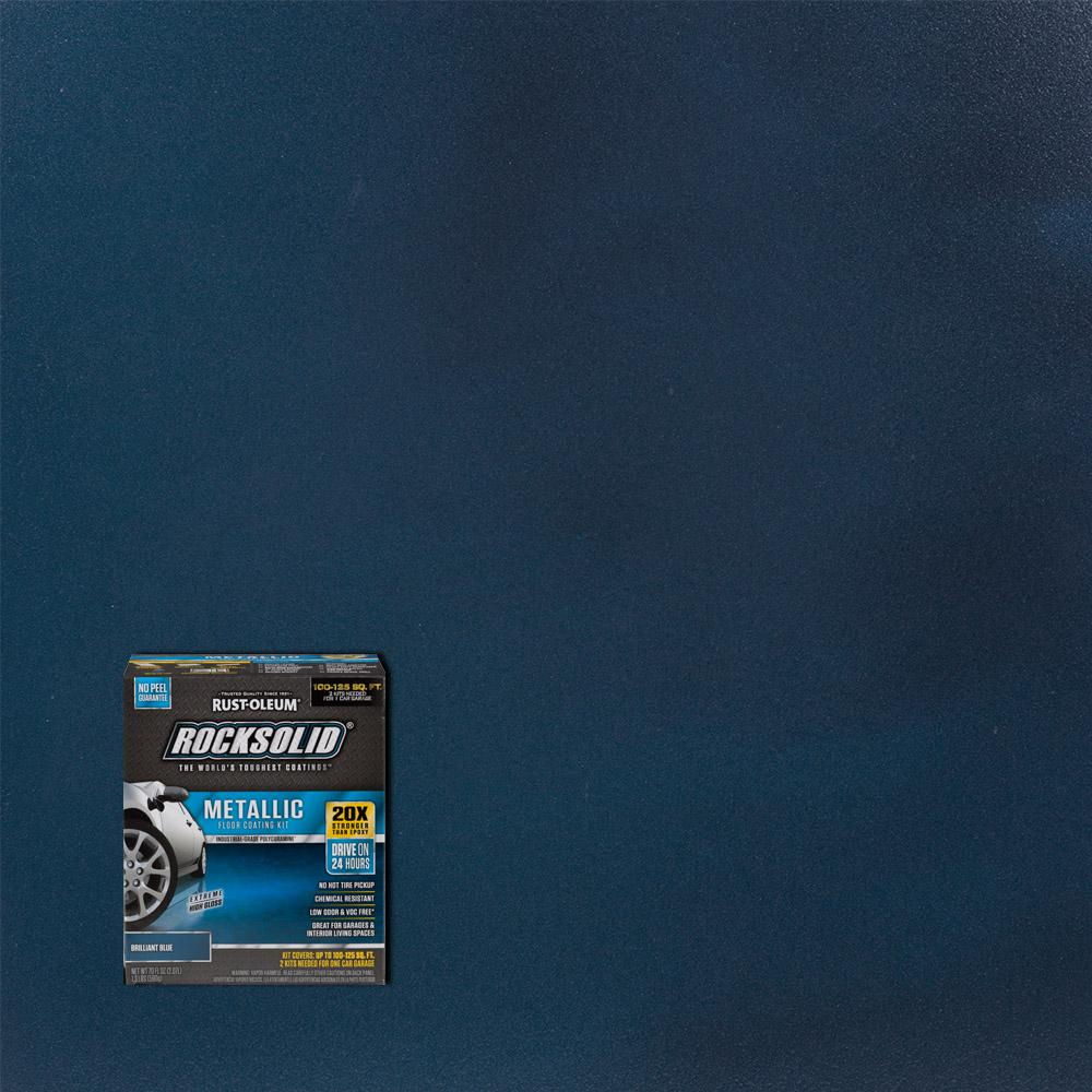 Garage Floor Coating Tucson Cost Rust Oleum Rocksolid 70 Oz Metallic Brilliant Blue Garage Floor Kit 2 Pack