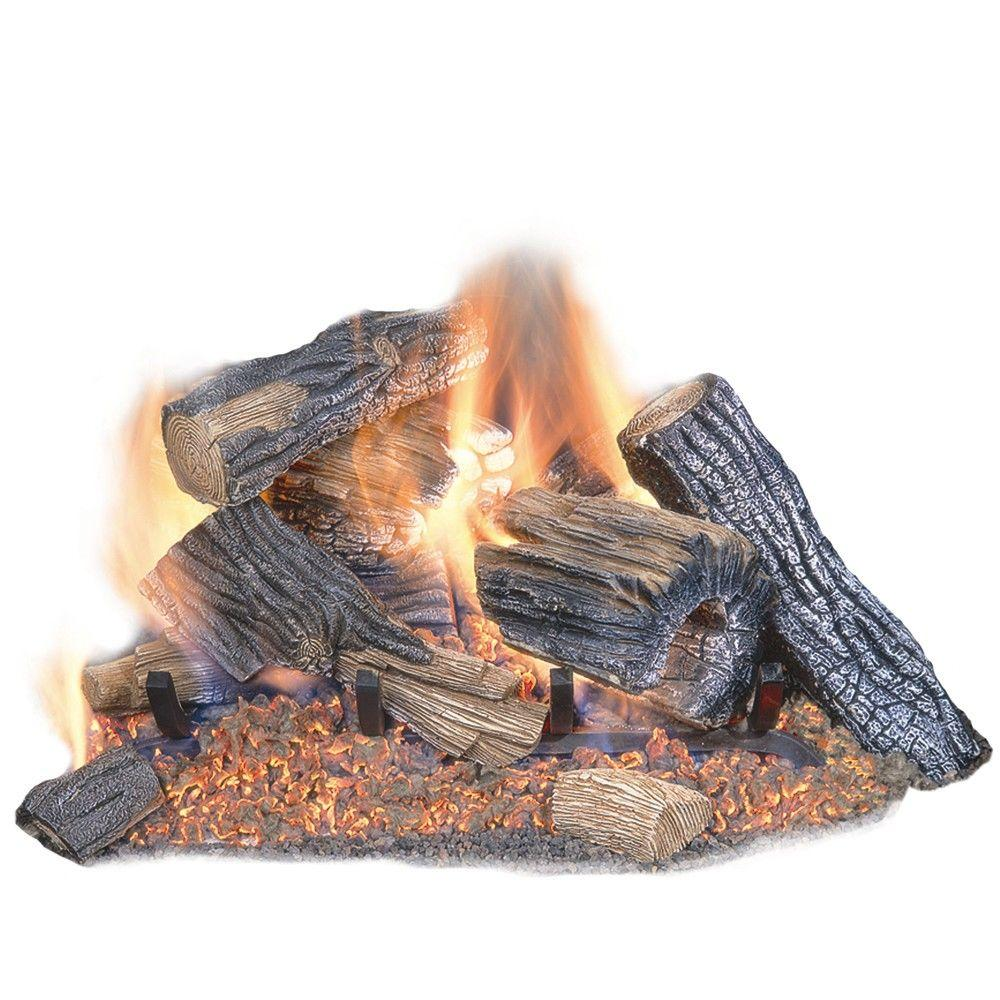 Ceramic Logs For Gas Fireplace Burnt River Oak 18 In Vented Dual Burner Natural Gas Fireplace Logs