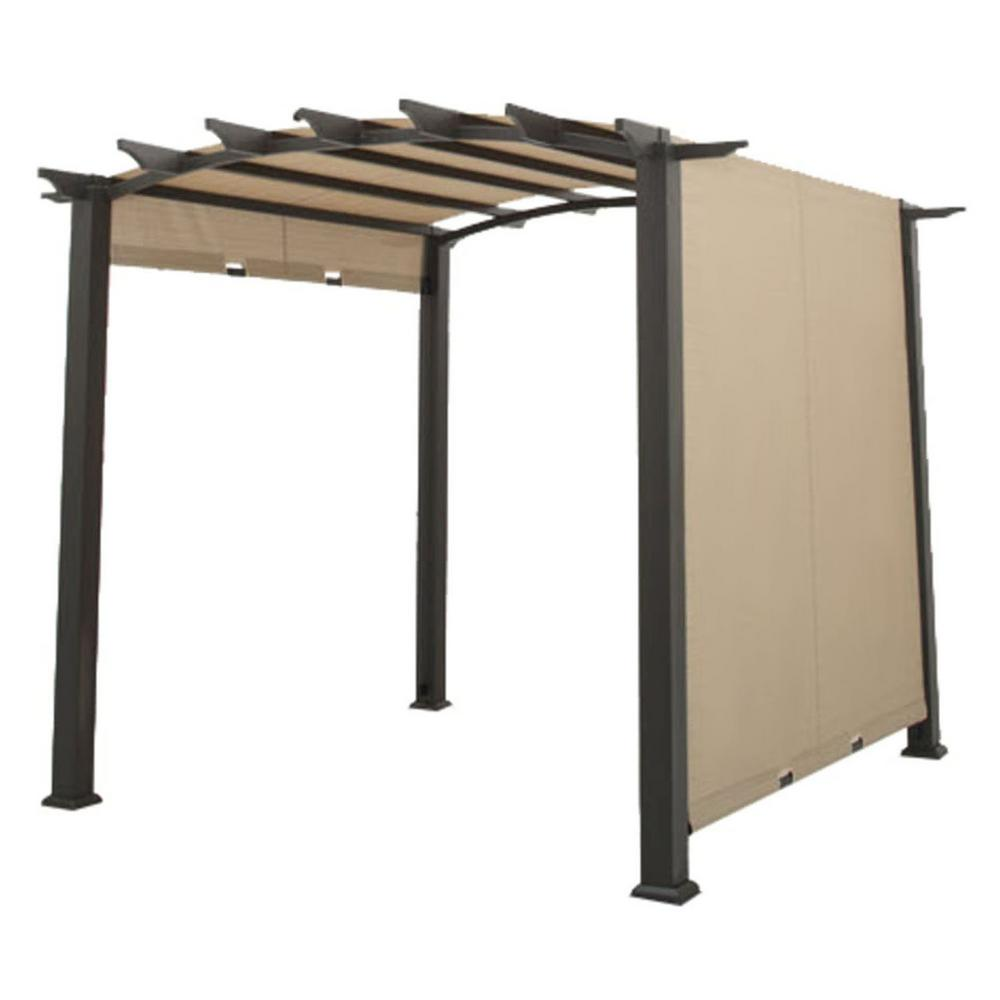 Pergola System Riplock 350 Replacement Canopy In Beige For Arched Pergola With Side Sliding Track Canopy System