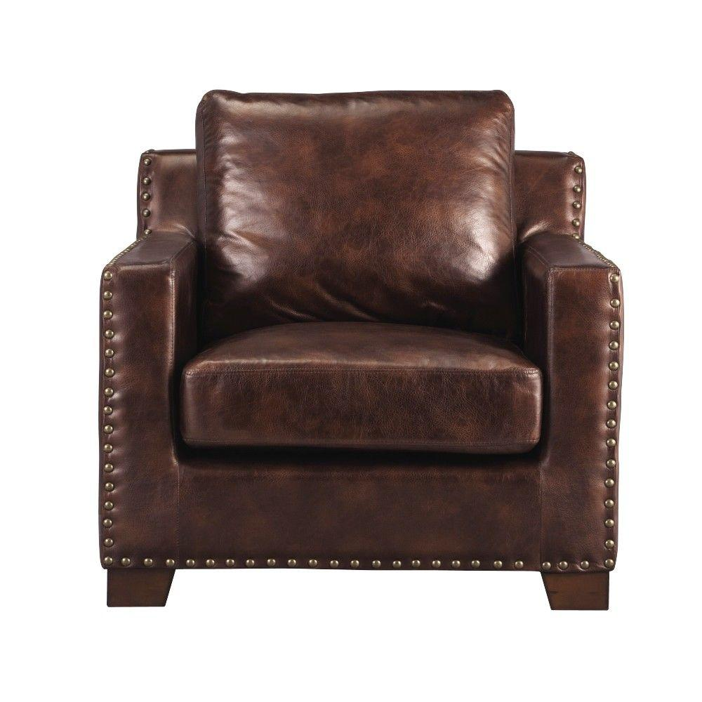 Accent Chairs To Go With Brown Leather Sofa Home Decorators Collection Garrison Brown Bonded Leather Arm Chair
