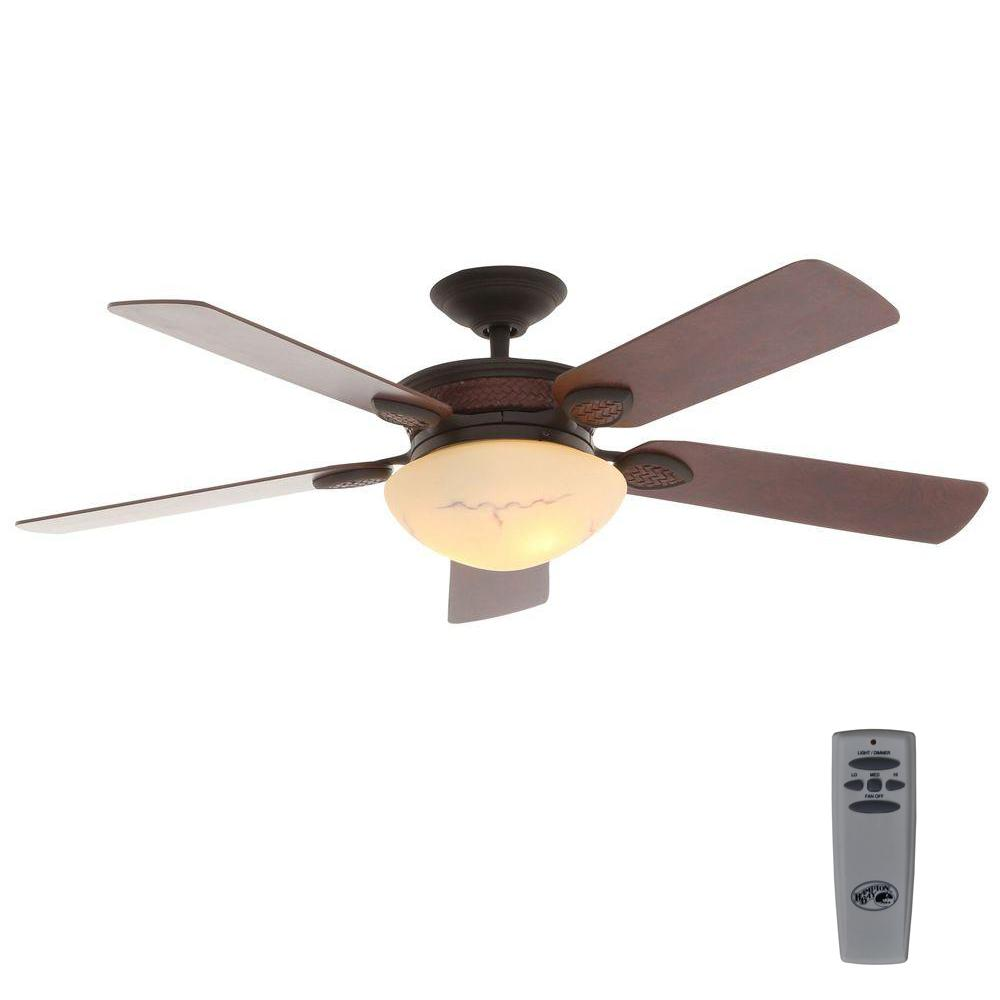 Rustic Ceiling Fan Light Fixtures Hampton Bay San Lorenzo 52 In Indoor Rustic Ceiling Fan With Light Kit And Remote Control