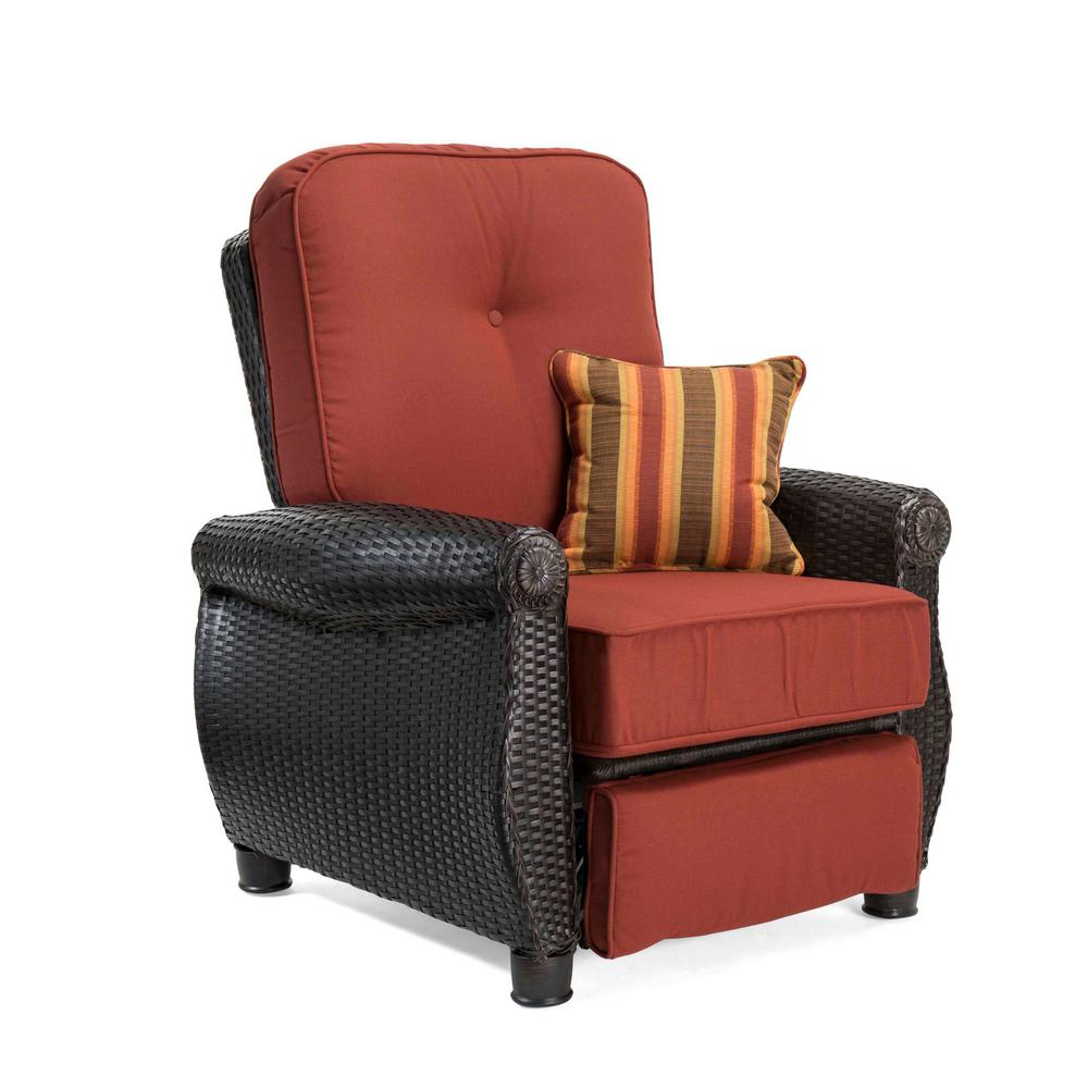 Patio Furniture Winnipeg Breckenridge Wicker Outdoor Recliner With Sunbrella Meredian Brick Cushion