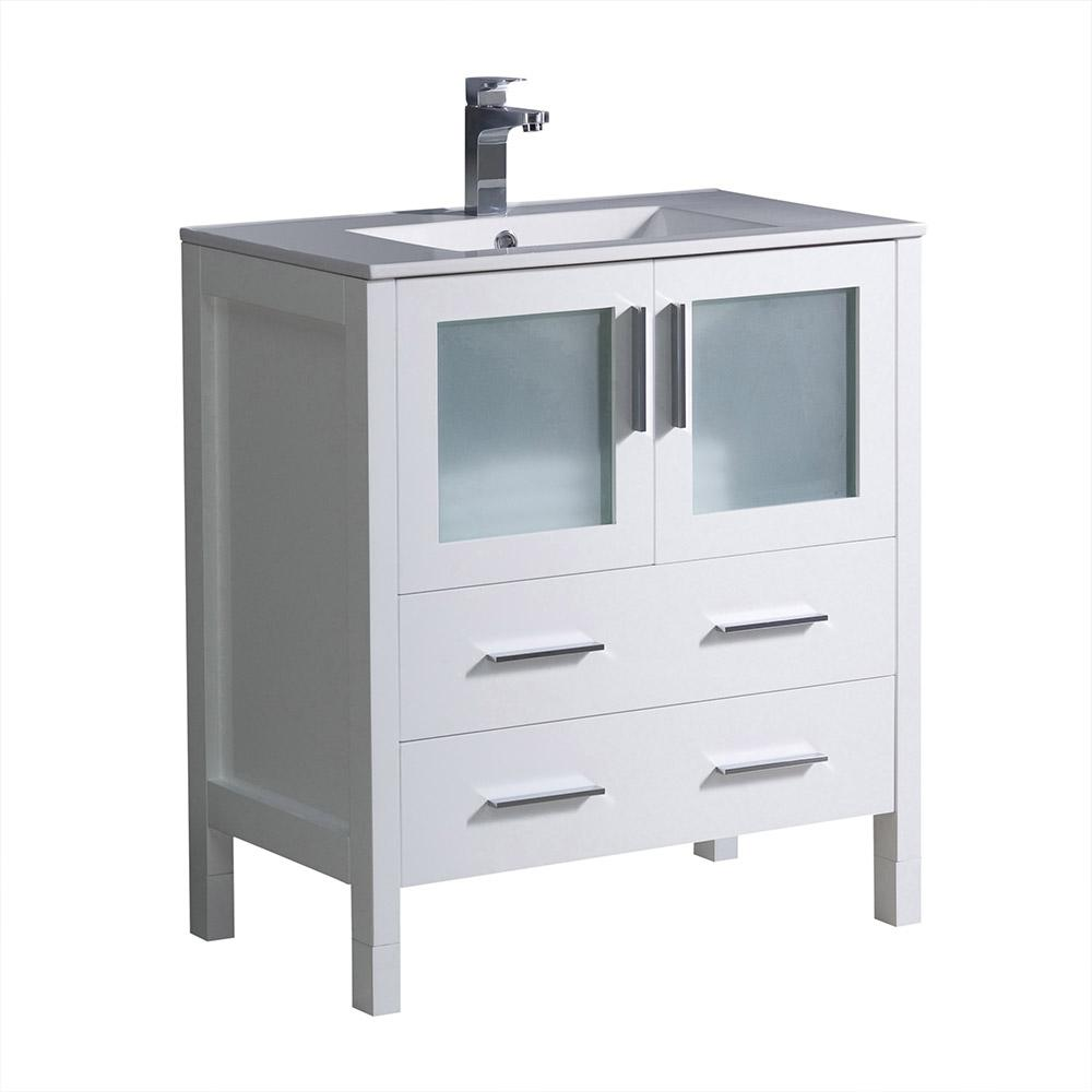 30 Vanity With Drawers Fresca Torino 30 In Bath Vanity In White With Ceramic Vanity Top In White With White Basin