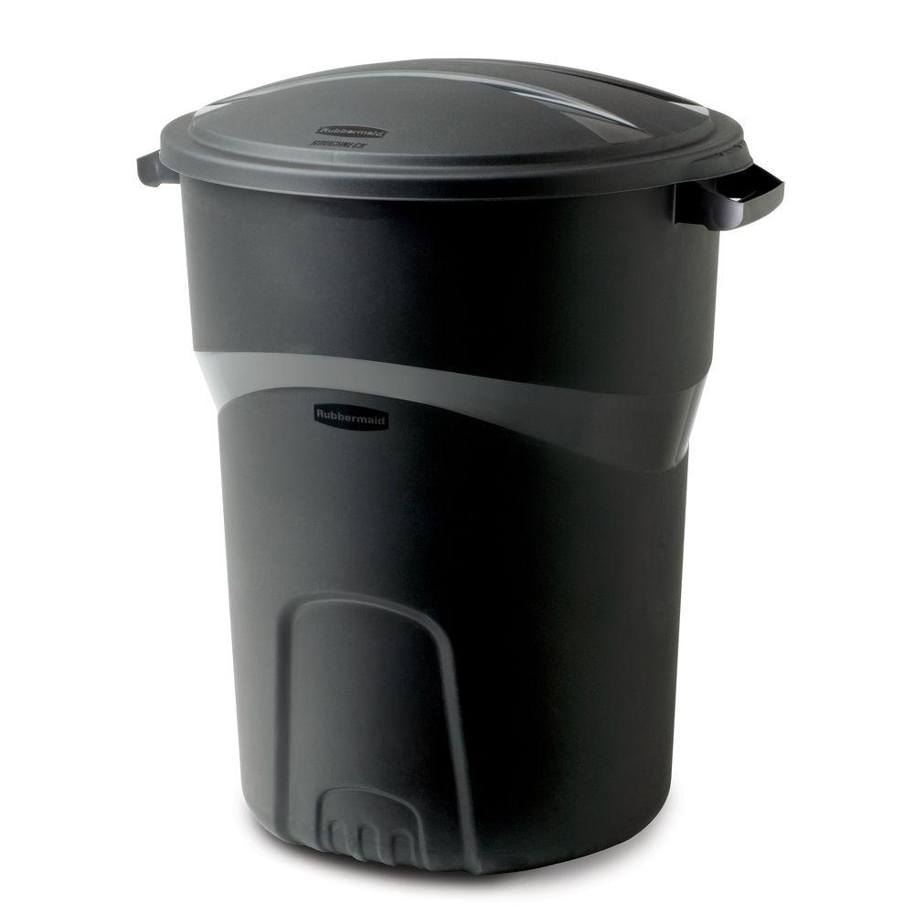 Garbage Bin Rubbermaid Roughneck 32 Gal Black Round Trash Can With Lid