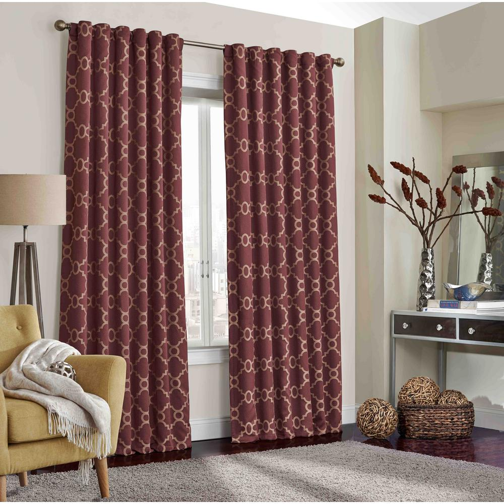 Red Trellis Curtains Eclipse Correll Blackout Window Curtain Panel In Burgundy 52 In W X 108 In L