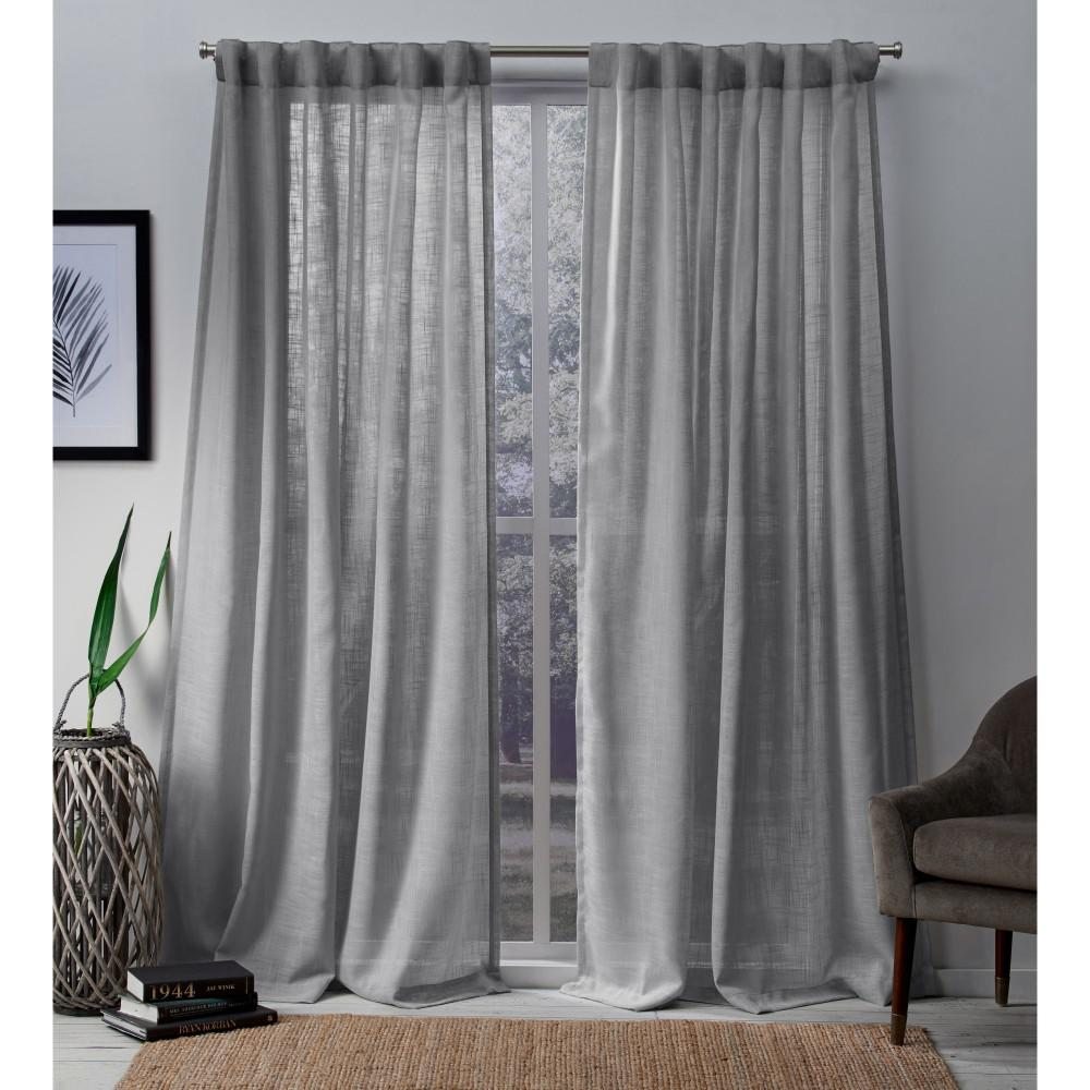 Tab Top Curtain Bella 54 In W X 96 In L Sheer Hidden Tab Top Curtain Panel In Silver 2 Panels