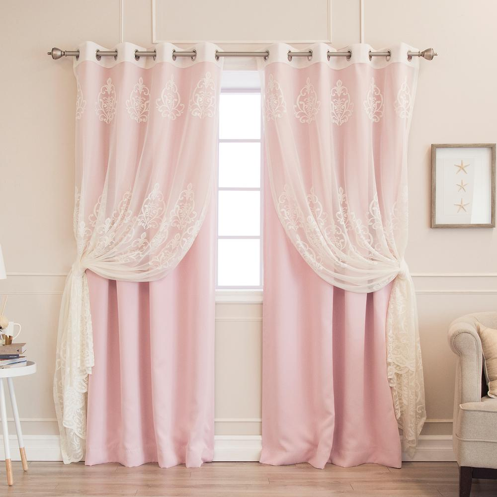 Cheap Stylish Curtains Best Home Fashion 84 In L Umixm Sheer Agatha And Blackout Curtains In Light Pink 4 Pack