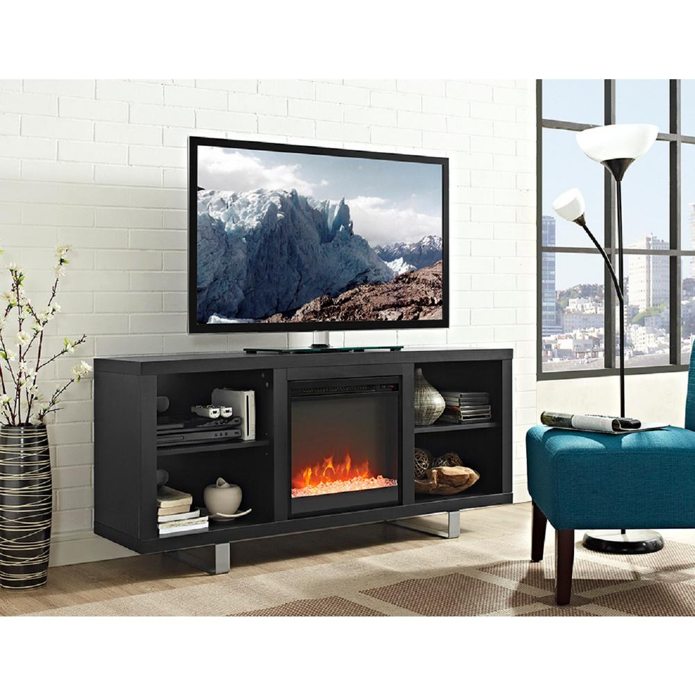 Modern Fireplace Images Walker Edison Furniture Company 58 In Simple Modern Fireplace Tv Console In Black