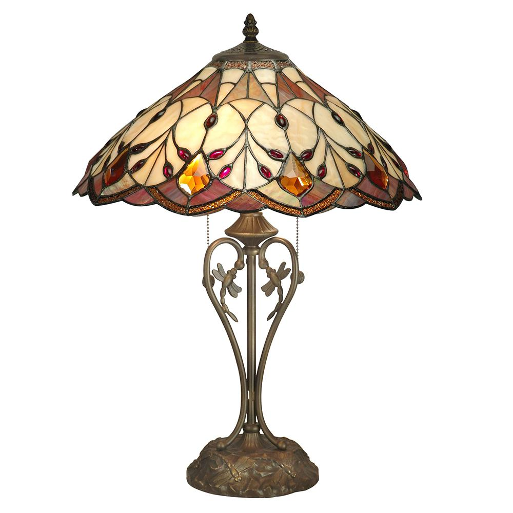 Glass Lamp Art Dale Tiffany 24 In Antique Bronze Marshall Table Lamp With Tiffany Art Glass Shade