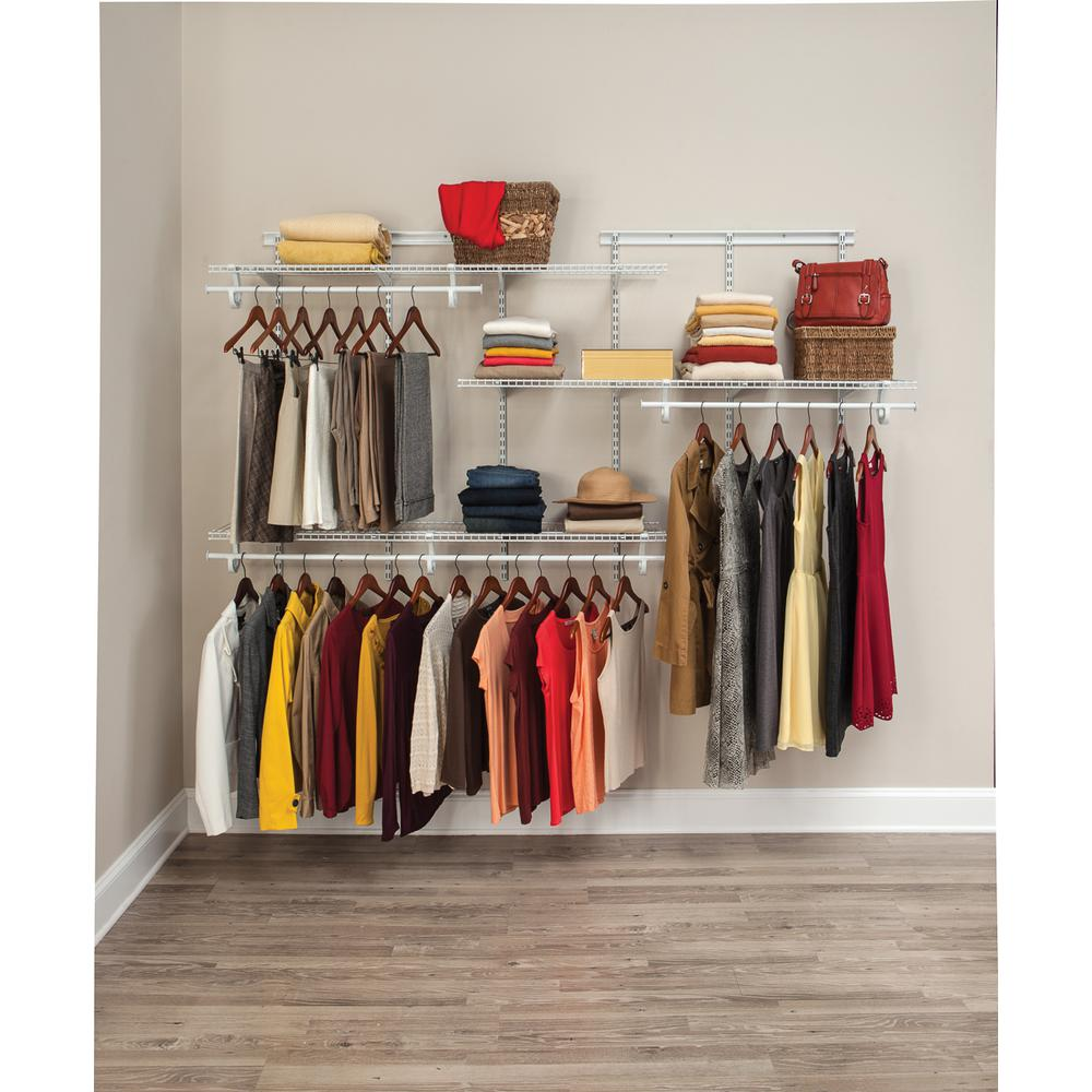 Closet Organization Closetmaid Shelftrack 5 Ft To 8 Ft 13 4 In D X 96 In W X 49 3 In H White Wire Steel Closet System Organizer Kit