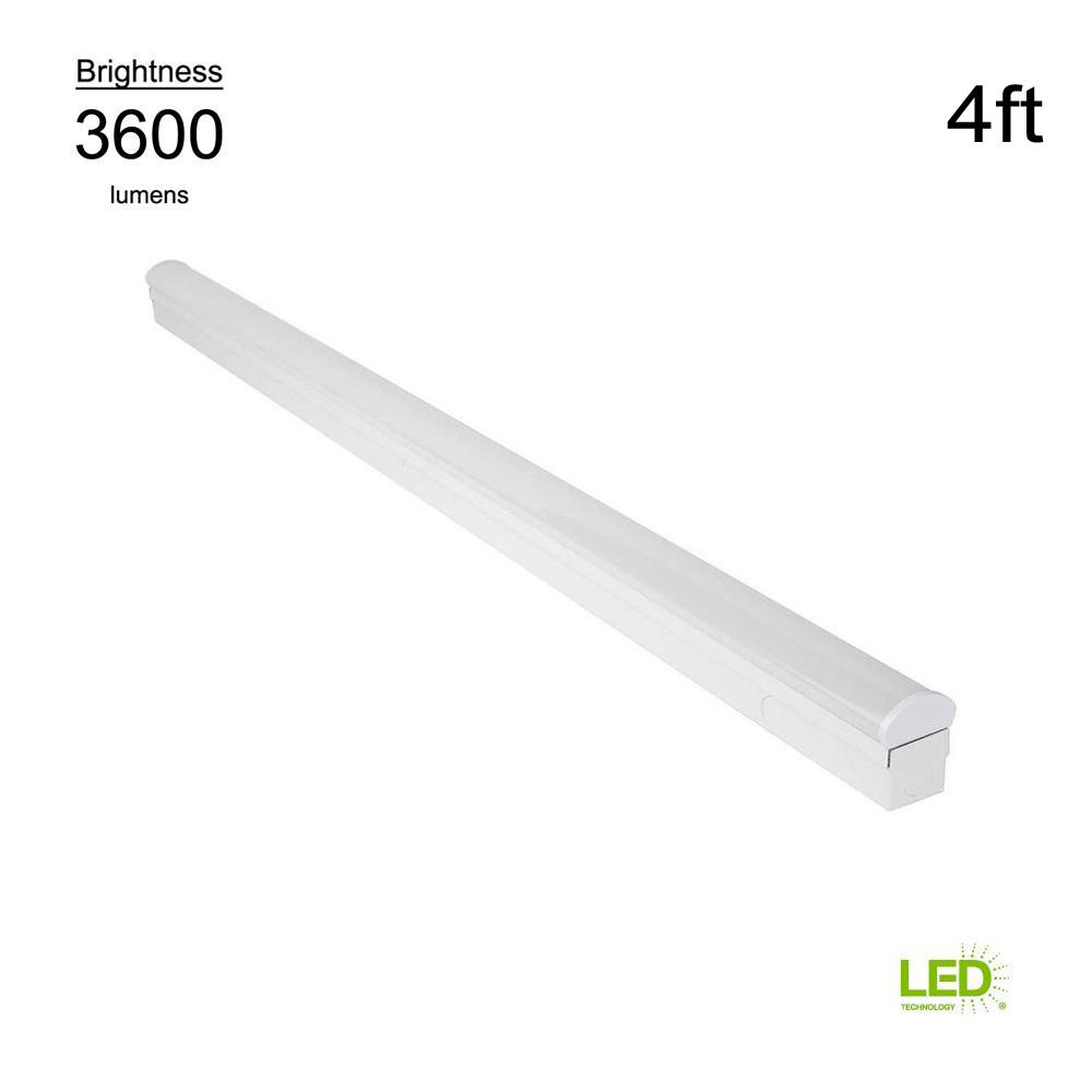 Led Light Strips At Home Depot Commercial Electric Direct Wire Power 4 Ft 64 Watt Equivalent Integrated Led White Strip Light Fixture 4000k Bright White 3600 Lumens
