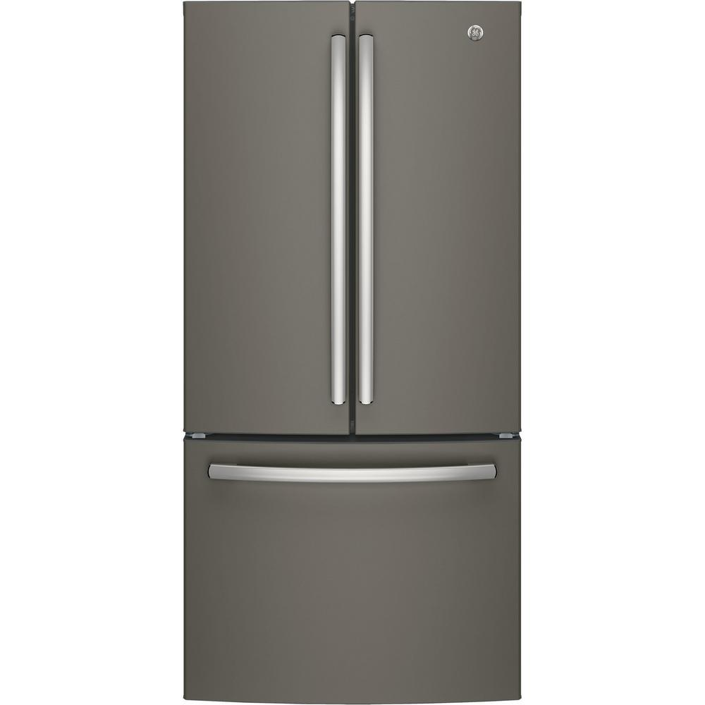 Home Depot Fridges Canada Ge 33 In W 18 6 Cu Ft French Door Refrigerator In Slate Counter Depth Fingerprint Resistant