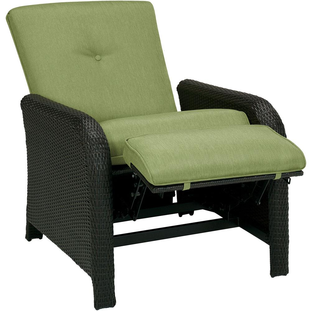 Lounge Chair Cambridge Corolla 1 Piece Wicker Outdoor Reclinging Patio Lounge Chair With Green Cushions