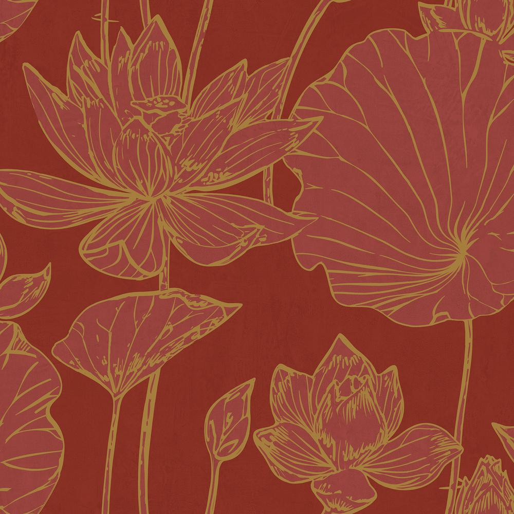 Metallic Gold Wallpaper Seabrook Designs Lotus Metallic Gold And Crimson Floral Wallpaper