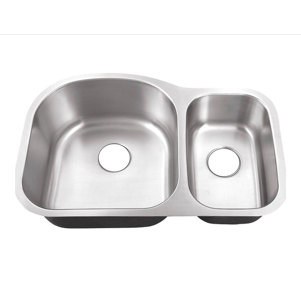 Belle Foret Farmhouse Sink Undermount Stainless Steel 32 In Hole 70 30 Double Bowl Kitchen Sink