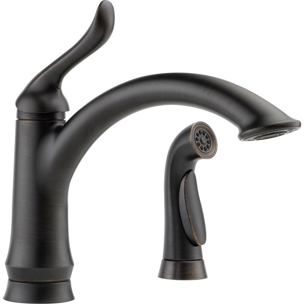 Cool Kitchen Faucet Delta Linden Single Handle Standard Kitchen Faucet With Side Sprayer In Venetian Bronze