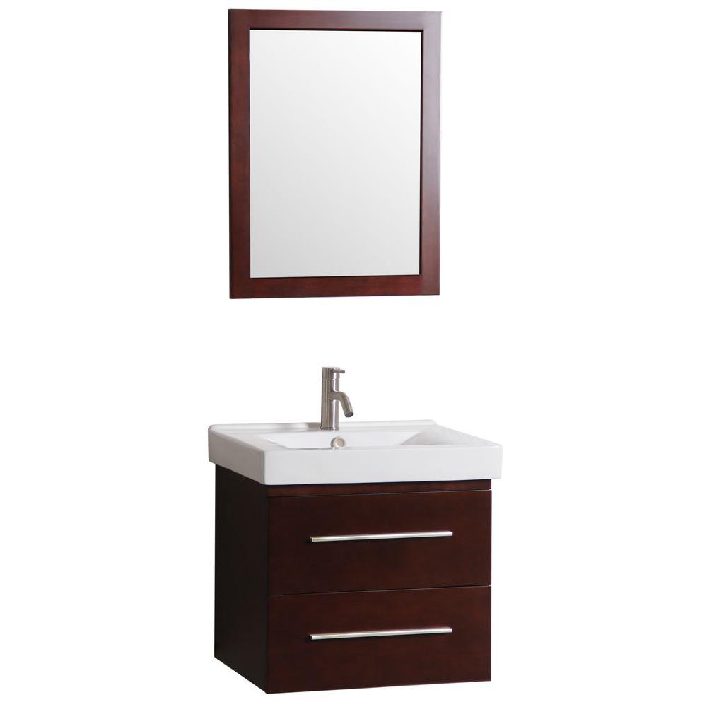 Living24 Möbel Decor Living 24 In W X 18 In D Floating Bath Vanity With Vanity Top In White With Vitreous China Basin In White And Mirror
