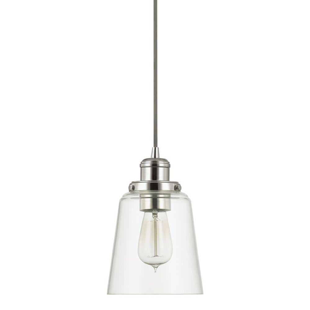 Pendant Lighting Home Decorators Collection 1 Light Polished Nickel Pendant With Clear Glass Shade And Silver Cord